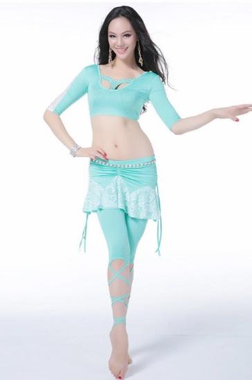 Wholesale women's three-piece aqua blue dance clothing