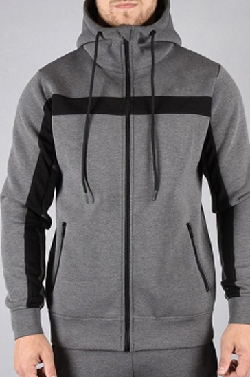 Black and grey men's running hoodie