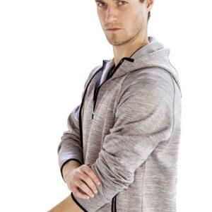 Light grey men's collared hoodies