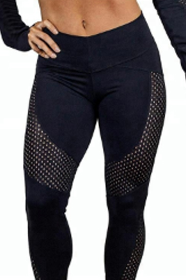 Dark navy blue perforated women's compression tights