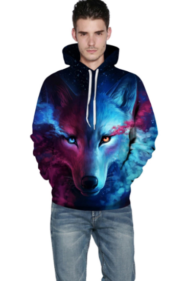 Blue and pink wolf printed men's sweats