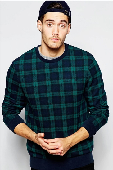 Navy blue and green plaid men's sweats