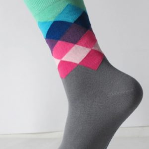 Grey Colorful Plaid Socks