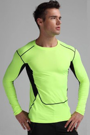 Green and black men's compression t-shirt