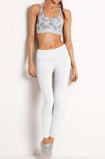 Grey floral cropped women's leggings