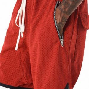 Fiery brick red men's workout shorts
