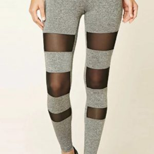 Wholesale women's grey mesh inserted dance tights