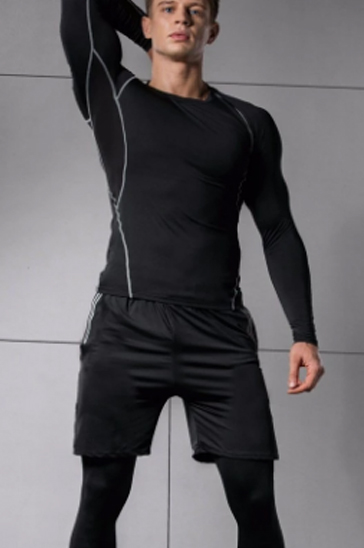 Black and white full sleeve men's compression t-shirt