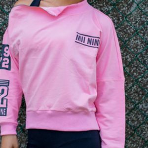 Pink and navy blue full sleeve women's t-shirts