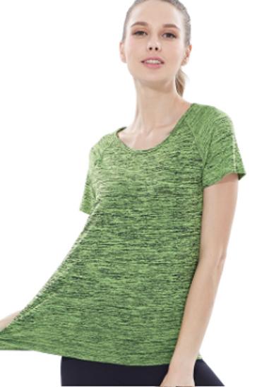 Green self-printed women's t-shirts