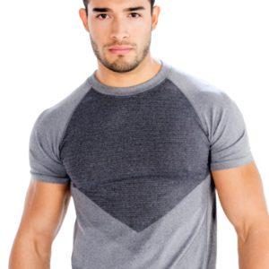 Grey Dual Shaded Mens Half Sleeve Gym T Shirts Wholesale Australia, USA, Canada