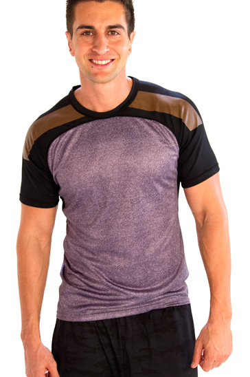 Light violet tri colored men's yoga t-shirts