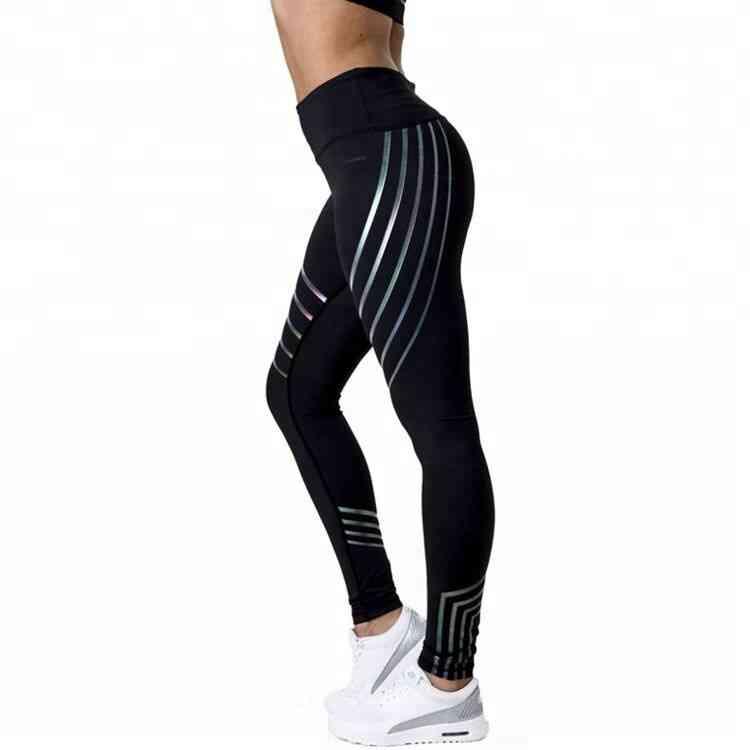 High Waist Black Striped Laser Wholesale Fitness Leggings image