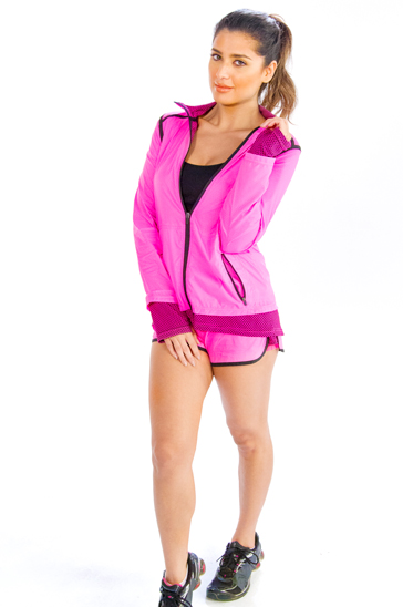 Pink double shaded women's running jacket and shorts
