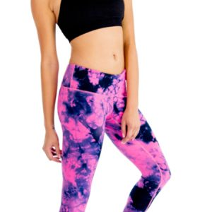 Black and pink tie and dye women's workout set
