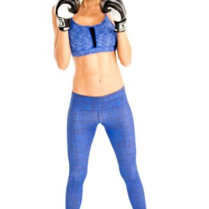 Wholesale women's blue self-textured gym clothing set