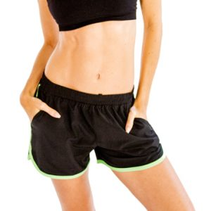 Black and neon green women's shorts