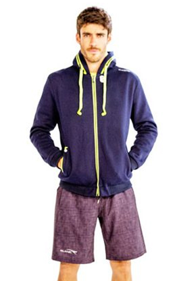 Navy Blue and Neon Yellow Fitness Hoodie Wholesale