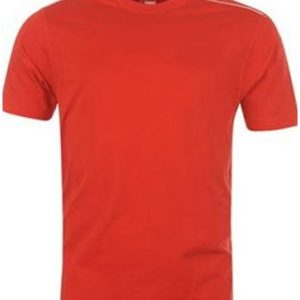 Red with White Shoulder Piping Mens Fitness T Shirt Wholesale