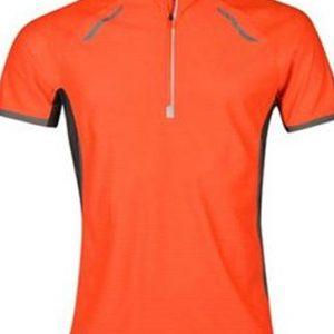 Orange high neck men's running t-shirt