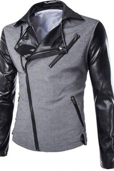 Black and grey leather men's sweats