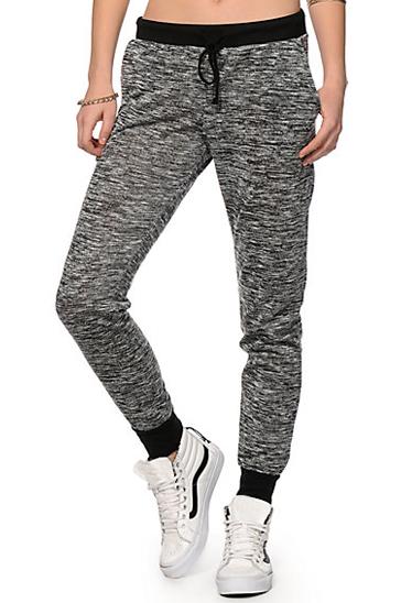 Self printed grey and black women's track pants