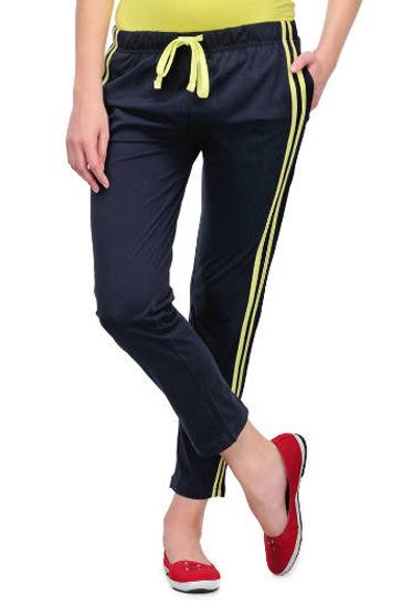 Dark navy blue and yellow women's track pants