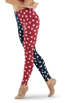 Wholesale Star Printed Red and Blue Leggings