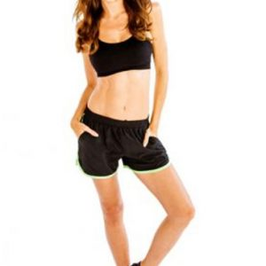 Black and neon green women's fitness shorts