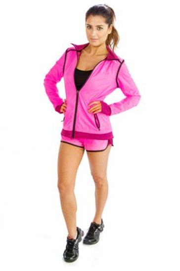 Pink and black women's fitness shorts