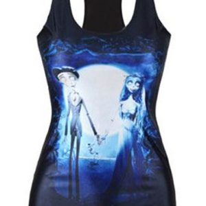 Black and midnight blue sublimated women's t-shirt