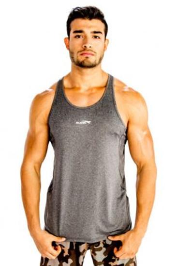 Grey sleek men's workout tank tee