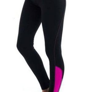 Magenta and black women's workout tights