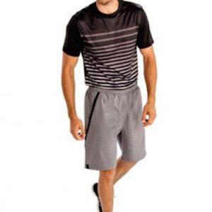 Grey and black striped men's workout set