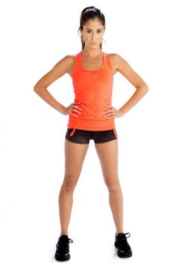 Orange and dark grey women's workout set