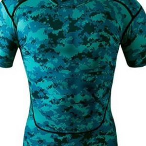 Black and green camo printed men's t-shirts