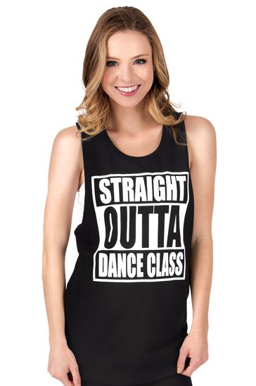 Black Straight Outta Dance Class Tank Top Manufacturer