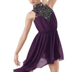 Purple Halter Neck Silver Detail Dress Manufacturer