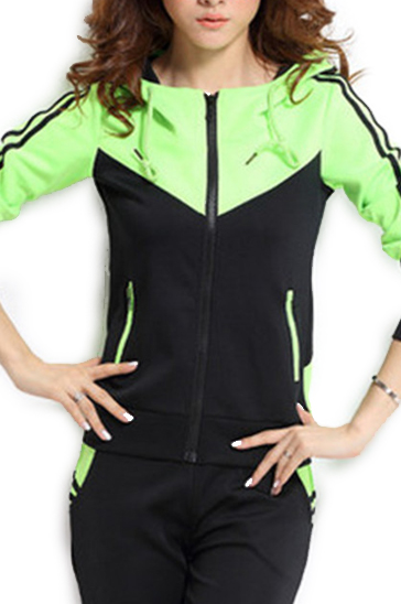 Black and neon green women's sports suits
